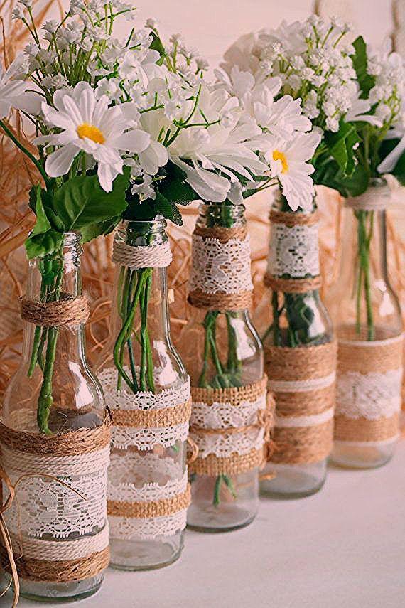 Photo of Rustikale Sackleinen Herzstück Flaschenvasen, Hochzeits- oder Partydekor, SET 5 … – My Blog