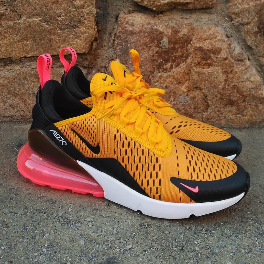Nike Air Max 270 Orange Black Hot Punch White University Gold Trainer