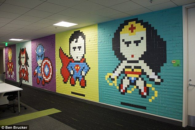 Drab Office Is Given An Incredible Make Over With 8 024 Post It Notes Office Mural Post It Art Office Wall Art