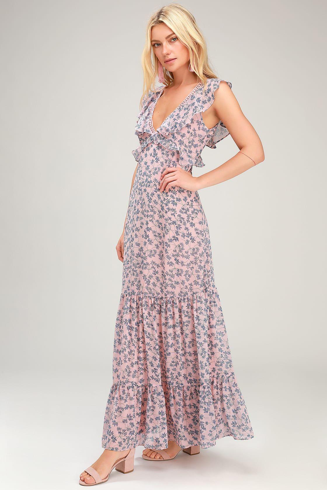 Darling Daydream Blue And Pink Floral Print Ruffled Maxi Dress Ruffled Maxi Dress Pink Maxi Dress Maxi Dress [ 1680 x 1120 Pixel ]