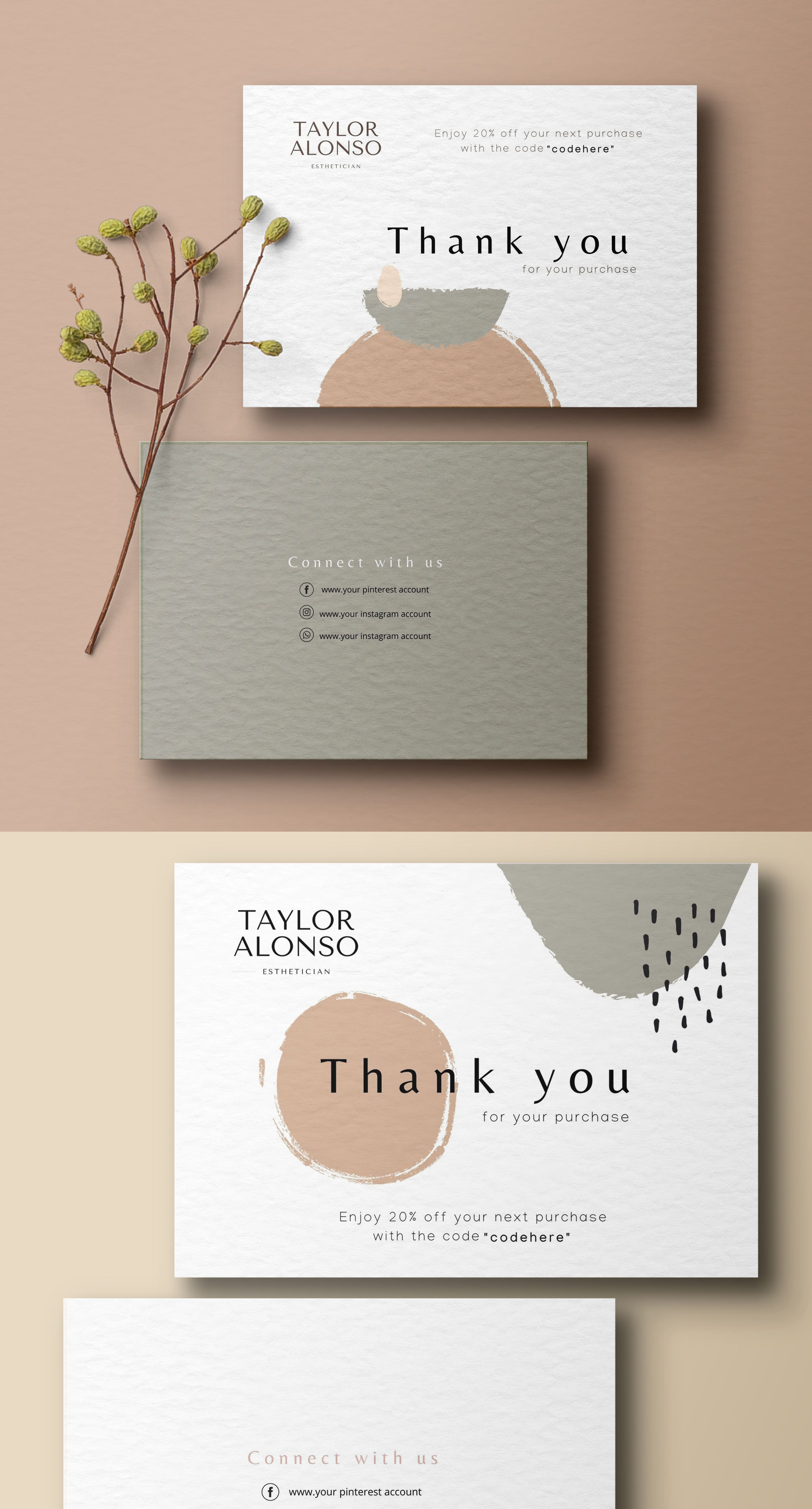 Watercolor Thank You Card Business Stationery Business Card Etsy Stationery Business Card Beautiful Business Card Business Stationery