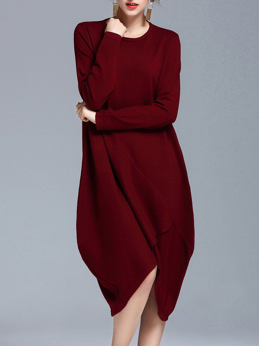 Shop Midi Dresses - Burgundy Asymmetrical Casual Midi Dress online. Discover unique designers fashion at StyleWe.com.