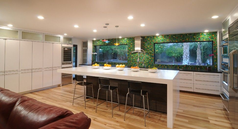 island with waterfall countertop | kitchen remodel | pinterest