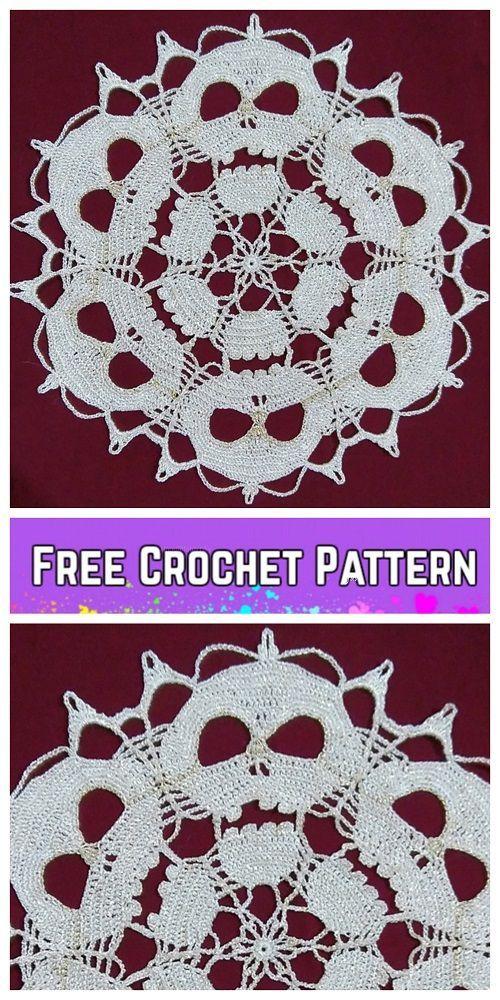 Gehäkelte Skull Doily Free Crochet Patterns   Diy und Handwerk ...