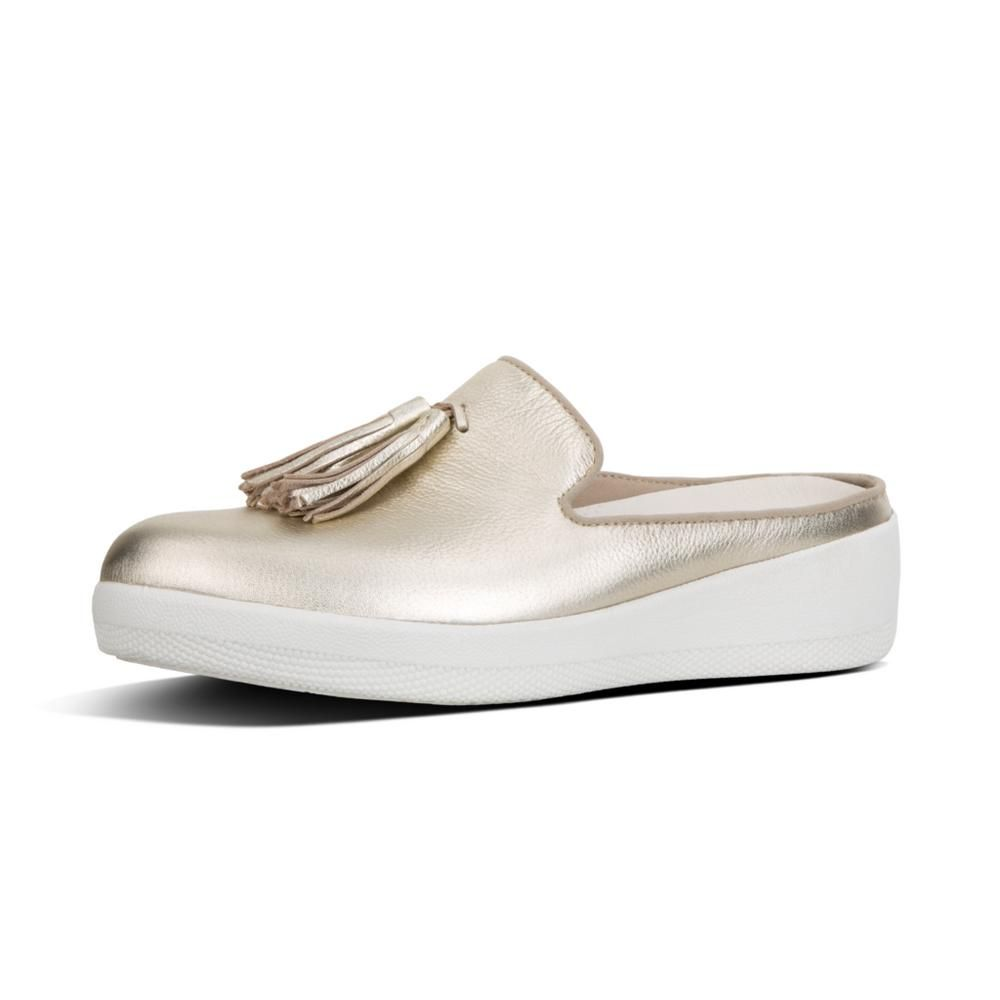 SUPERSKATE SLIP-ON LEATHER MULES Pale