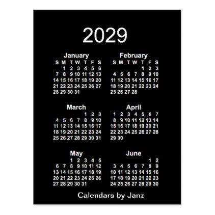 2029 Neon White 6 Month Mini Calendar By Janz Postcard Neon