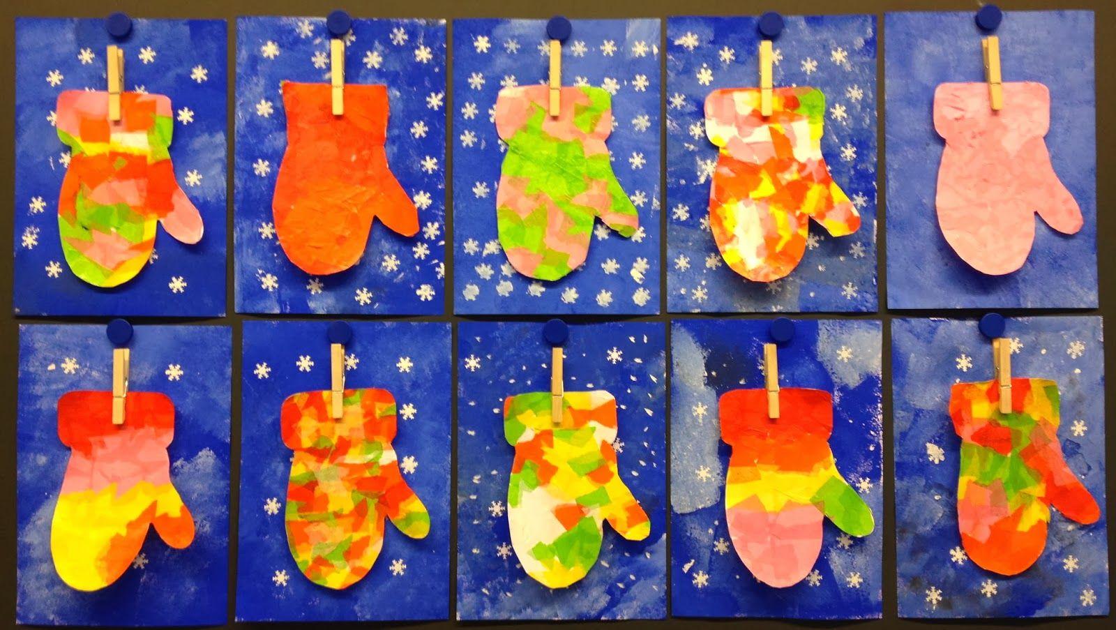 KLASSENKUNST: Winterbild Handschuhe … | Handschuhe | Winte…