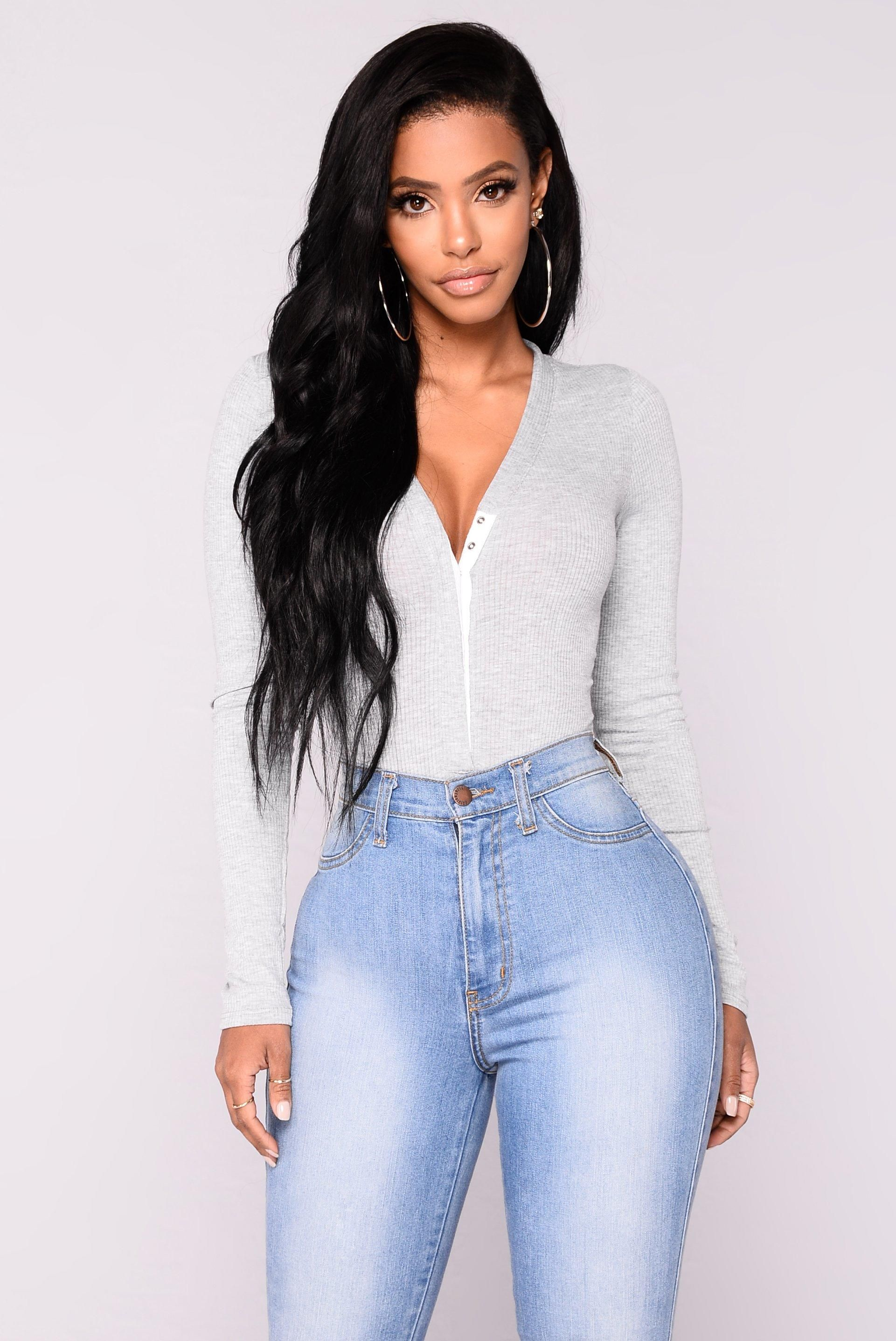 ddfc6dbacea Matilda Ribbed Bodysuit - Grey from Fashion Nova. Saved to Shoes. Shop more  products