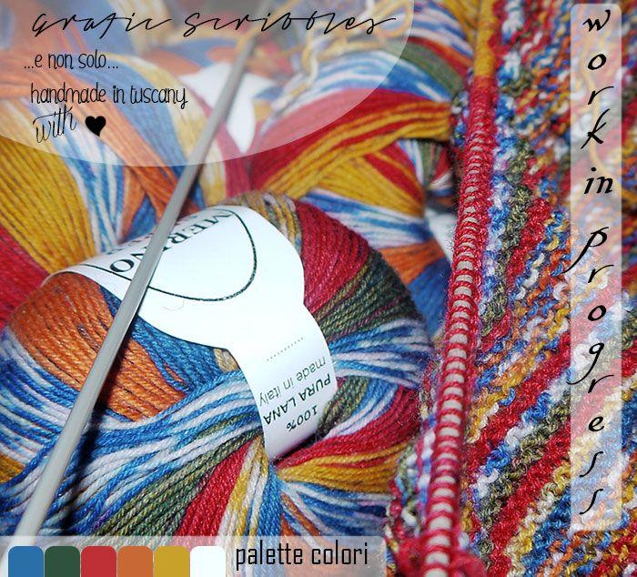 Color Palette of 5 Febbraio 2015 - Work in Progress Mesi fa aggirandomi tra le bancarelle del mercato del mio paese ho incontrato questo pacco di lana variopinta....e completamente catturata dai suoi colori e relative infinite sfumature non ho resistito e l'ho comprata. Per mesi ha riposato in attesa  http://graficscribbles.blogspot.it/2015/02/color-palette-palette-colore-workinprogress.html #tricot #lavoroamaglia #lavoroaiferri #palettecolori