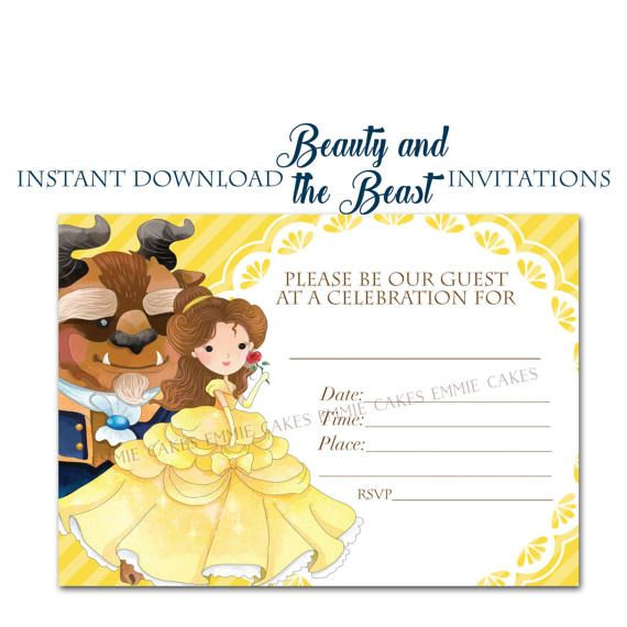 Beauty and the Beast Invitation Instant Download Fillin 5x7 Party