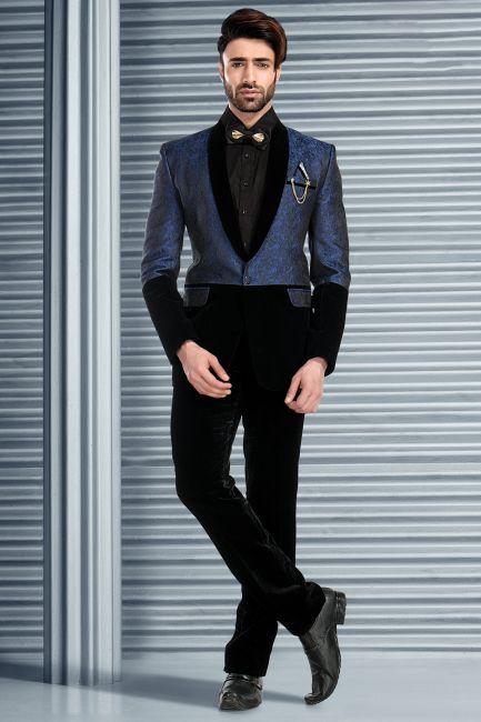 Blue Brocade Tuxedo Suit-ST604 | Teal blue