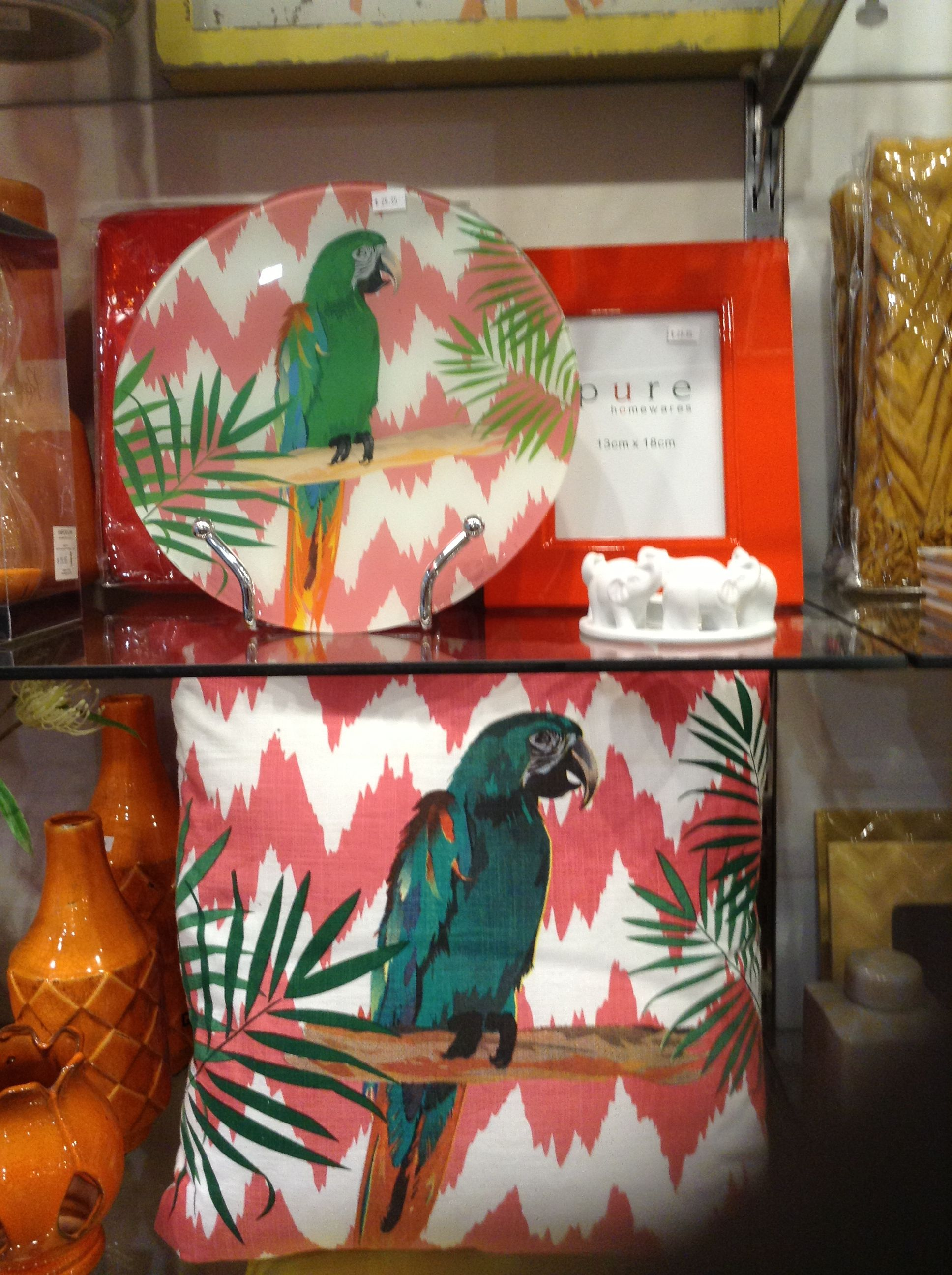 Parrot cushions and plate, 44.95 and 29.95 respectively.