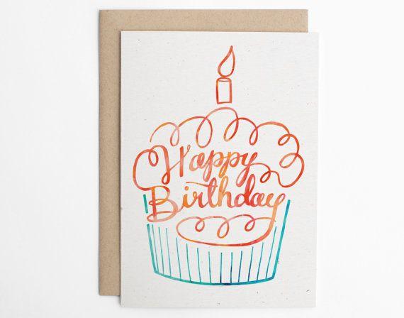 Happy Birthday Cupcake Cute Happy Birthday Card By Seaandlake Card