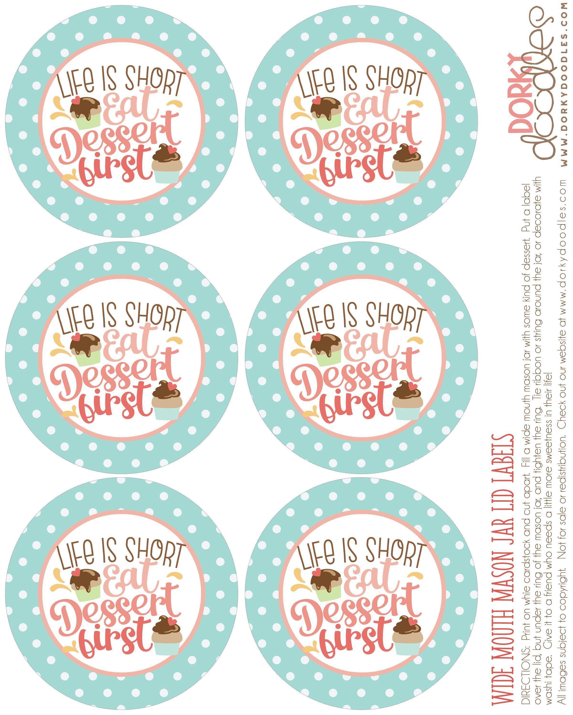 Mason Jar Lid Label Printable For Dessert Cute And Easy Treat Idea