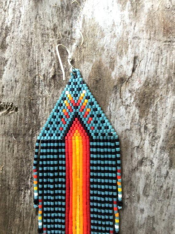Dragonfly long fringe earring beaded tribal art | Etsy
