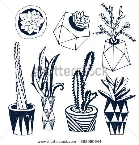 Succulents In DIY Concrete Pots In Scandinavian Style. Home Decoration. Vector Illustration