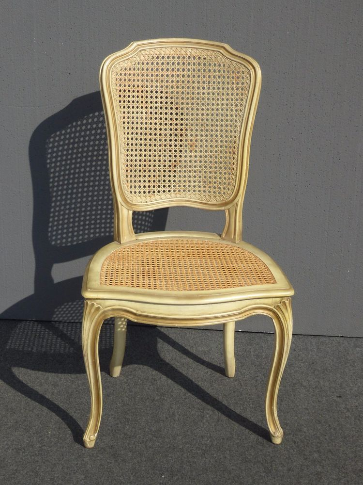 Vintage French Provincial Country Cottage Cane Accent Chair Desk Chair Brown Accent Chair Chair Accent Chairs