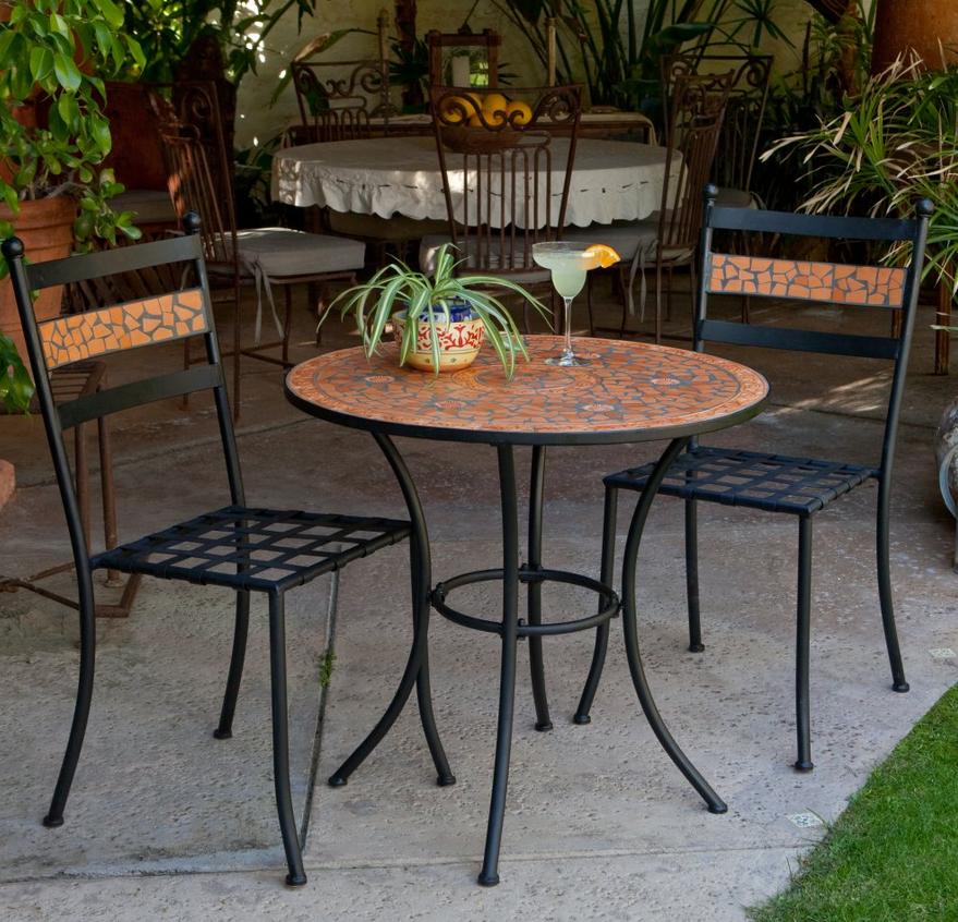 mosaic bistro set with black cushion gardening patio patio rh pinterest com