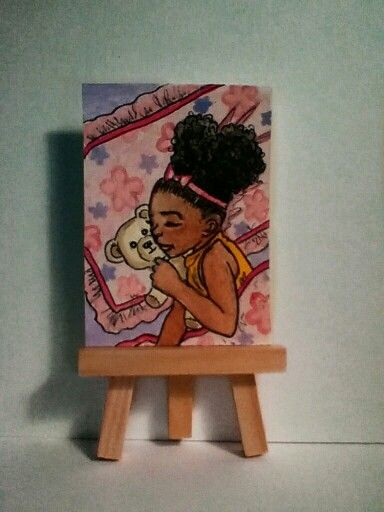 ACEO mixed media. Illustrative art, titled Sleepy Head.