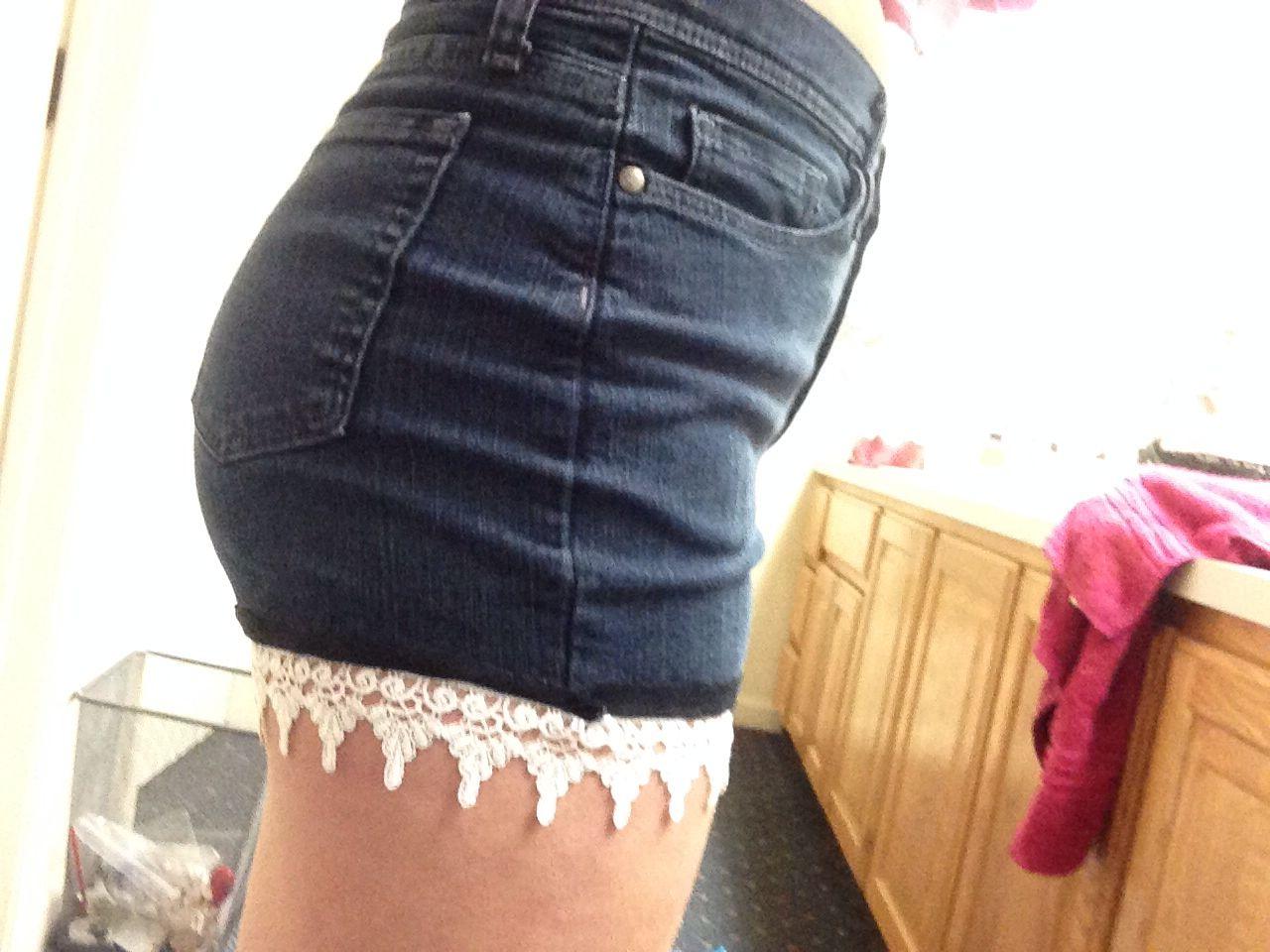 DIY lace high waisted shorts :)