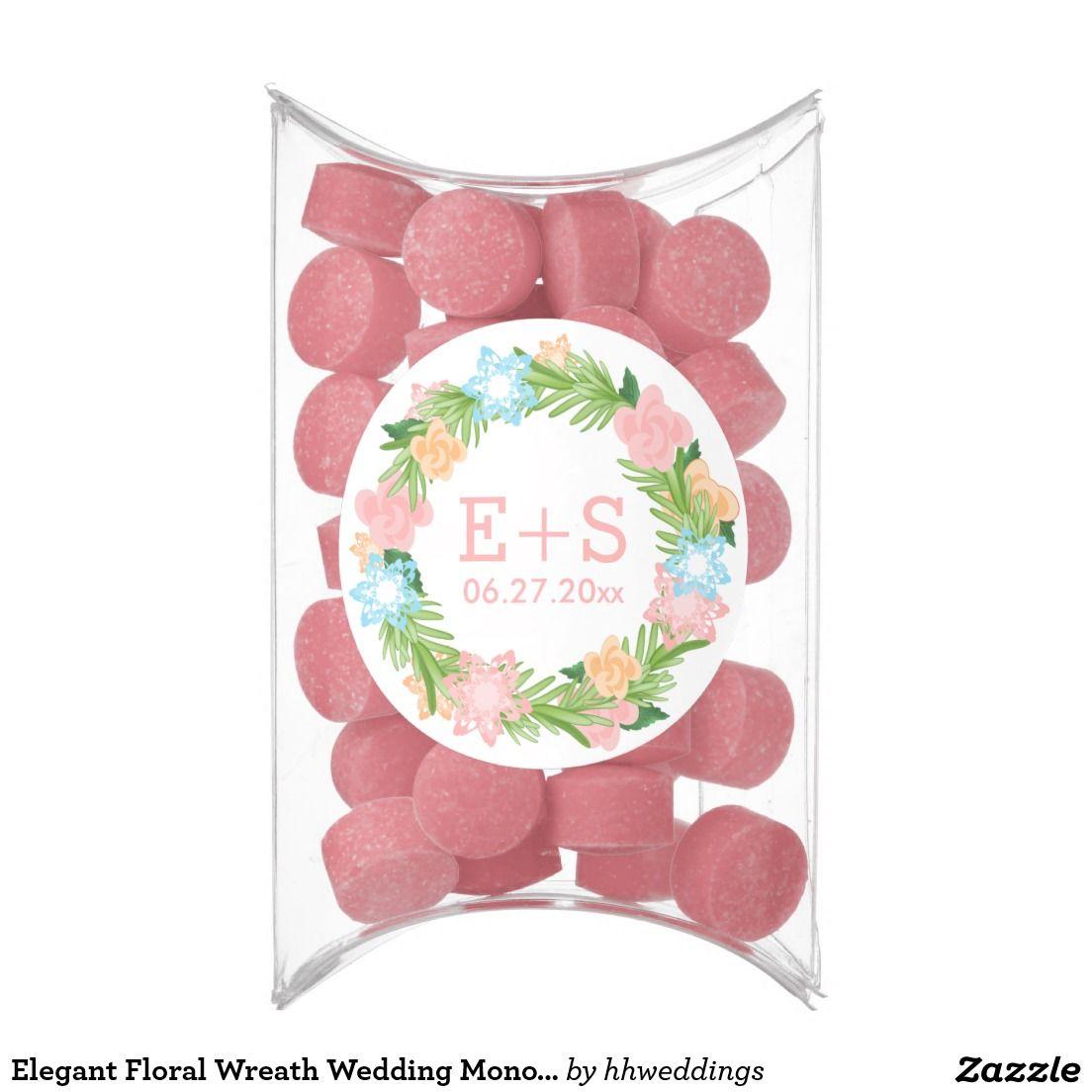 Elegant Floral Wreath Wedding Monogram Chewing Gum Favors | Wedding ...