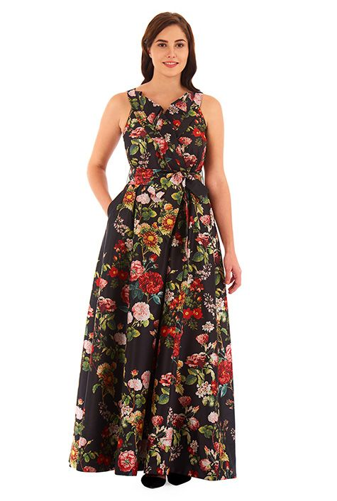 0aa07a9f54 I  3 this Ruffled surplice floral print dupioni maxi dress from eShakti