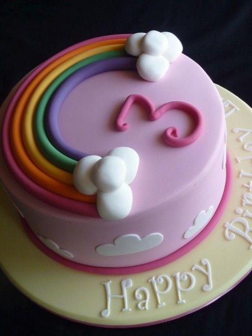 Awe Inspiring Torta Arco Iris Fondant De Colores Nubes Y Numero 3Rd Birthday Funny Birthday Cards Online Alyptdamsfinfo