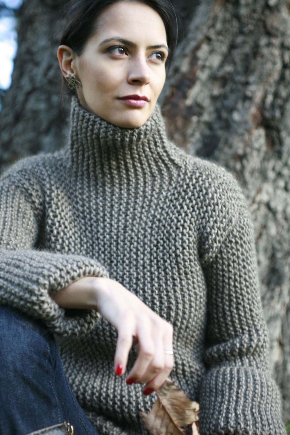 Side to side garter stitch sweater