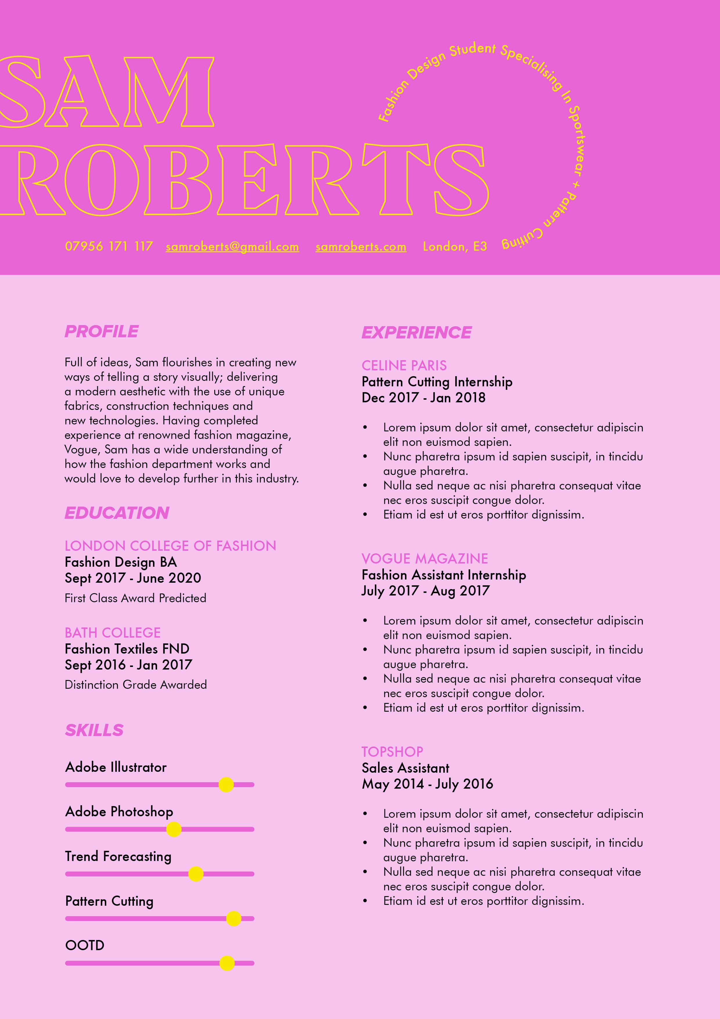 Easy fashion cv template for word or indesign cv