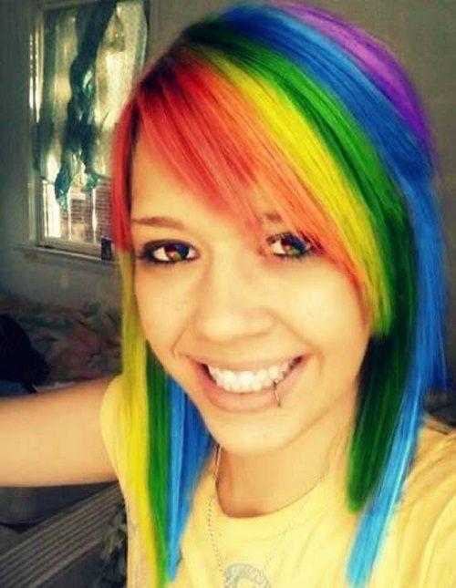 rainbow emo hairstyles girls