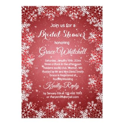 Snowflakes On Red Christmas Bridal Shower Card
