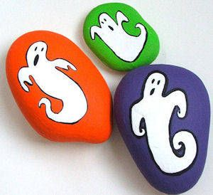 Painted ghost rocks -- or jack-o-lanterns, black cats, monsters...