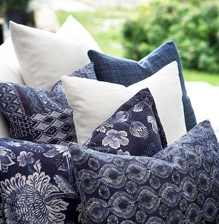 Blue And White, Blue Pillows, Blue