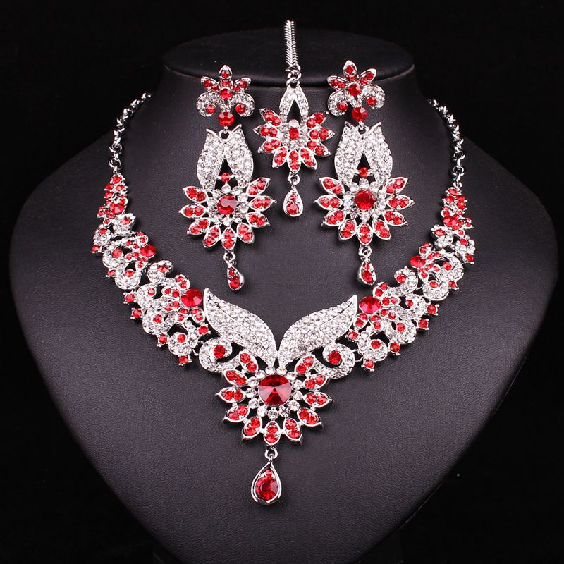 New Women Fashion Floral Gold Plated Bridal Jewelry Set Crystal Indian Forehead Hairband Necklace Earring Sets