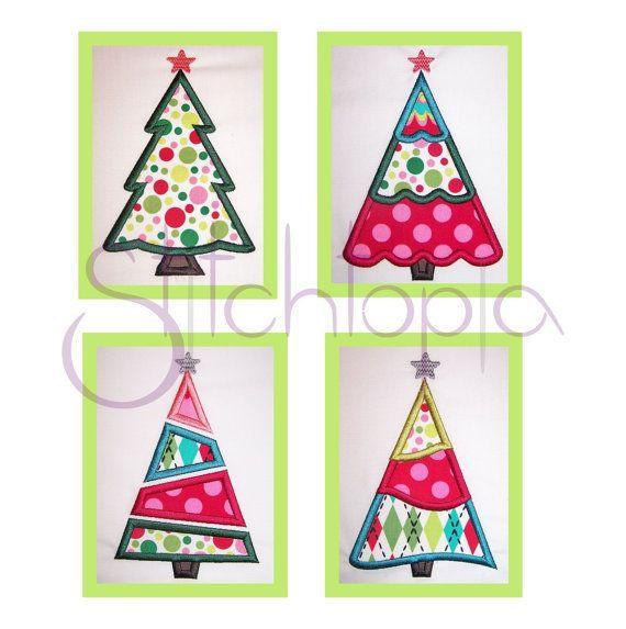 Christmas Tree Applique Set Digital Machine Embroidery Christmas Designs Simple Christmas Tree Embroidery Designs