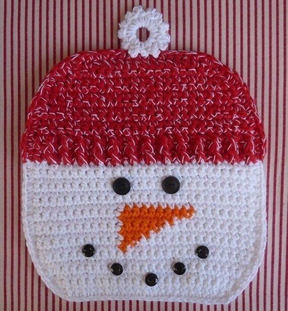 Snowman Potholder Crochet PATTERN INSTANT DOWNLOAD | Navidad ...
