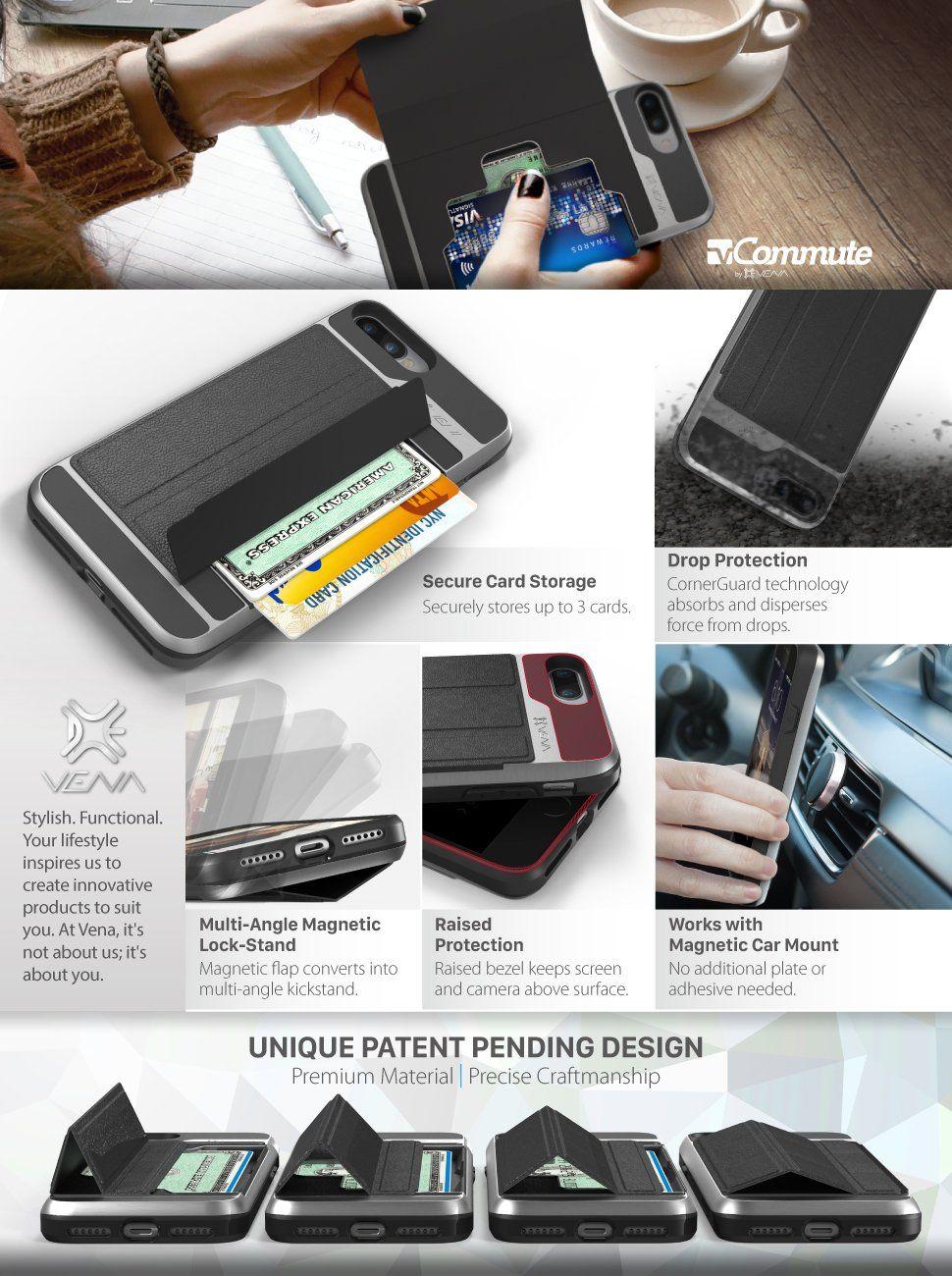 separation shoes 51a78 e9d48 Amazon.com: iPhone 7 Plus Wallet Case, Vena [vCommute] Flip Leather ...