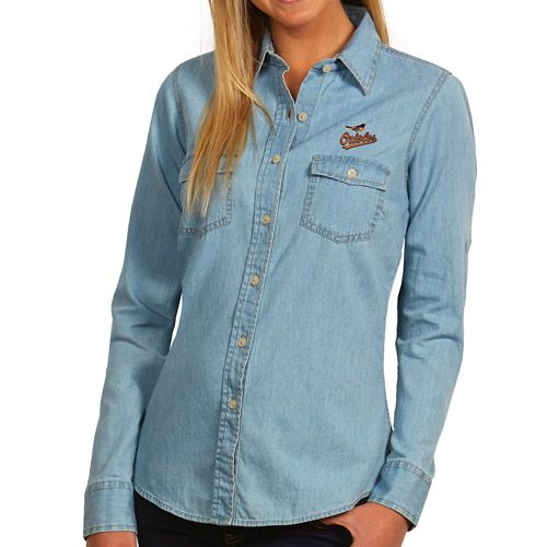 Baltimore Orioles Women's Long Sleeve Chambray Button Down Shirt by Antigua  - MLB.com Shop
