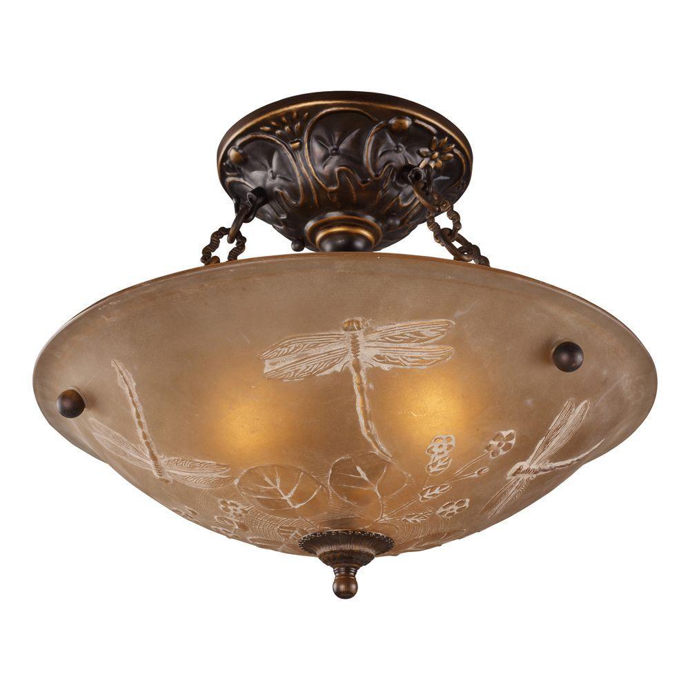 Titan Lighting 3-Light Golden Bronze Ceiling Semi-Flush Mount Light ...