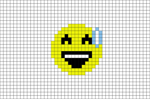 Smiling Face With Open Mouth And Cold Sweat Emoji Pixel Art