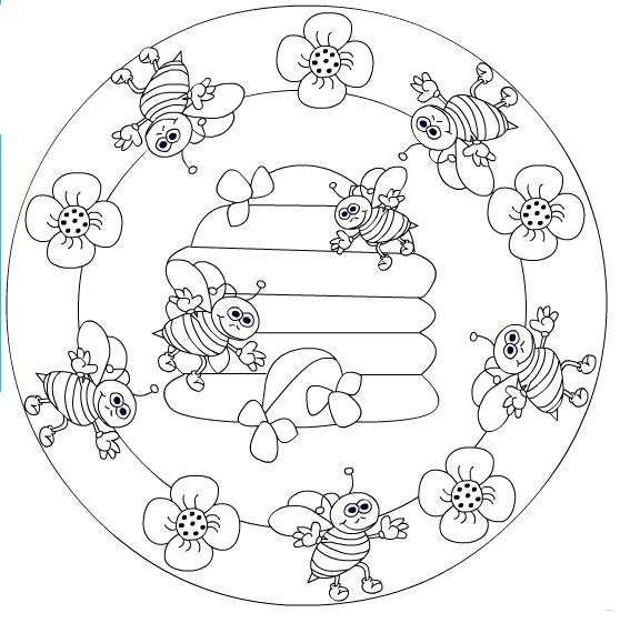 Crafts Actvities And Worksheets For Preschool Toddler And Kindergarten Mandala Coloring Pages Bee Coloring Pages Mandala Coloring Books