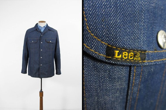 34a8484b82e Vintage 70s Lee Denim Shirt Blue Snap Jacket Union Made in USA - Large