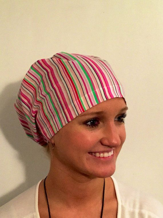 Pink Stripes • European style all encompassing scrub cap with adjustable elastic closure