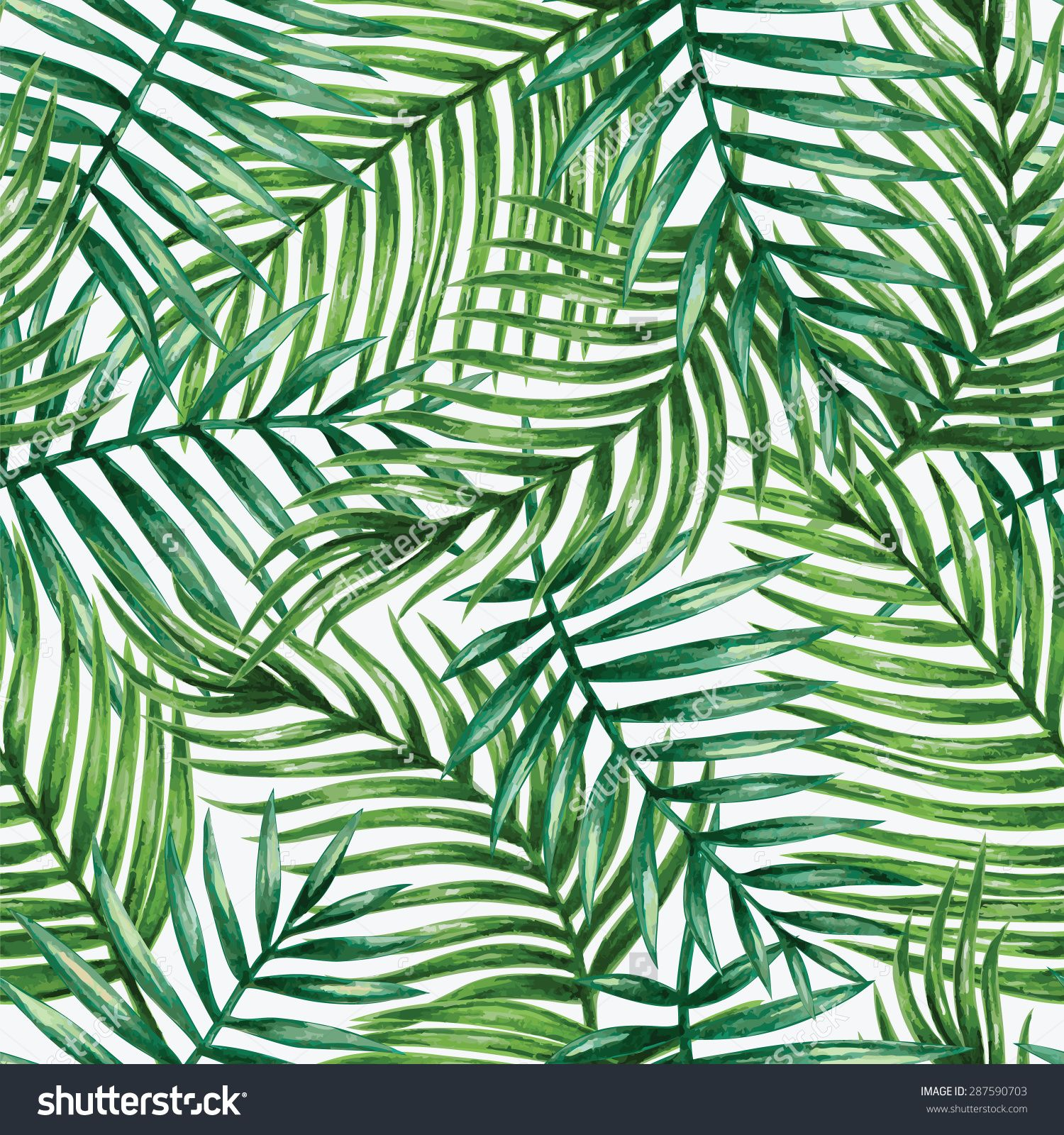 Watercolor Tropical Palm Leaves Seamless Pattern Vector Illustration