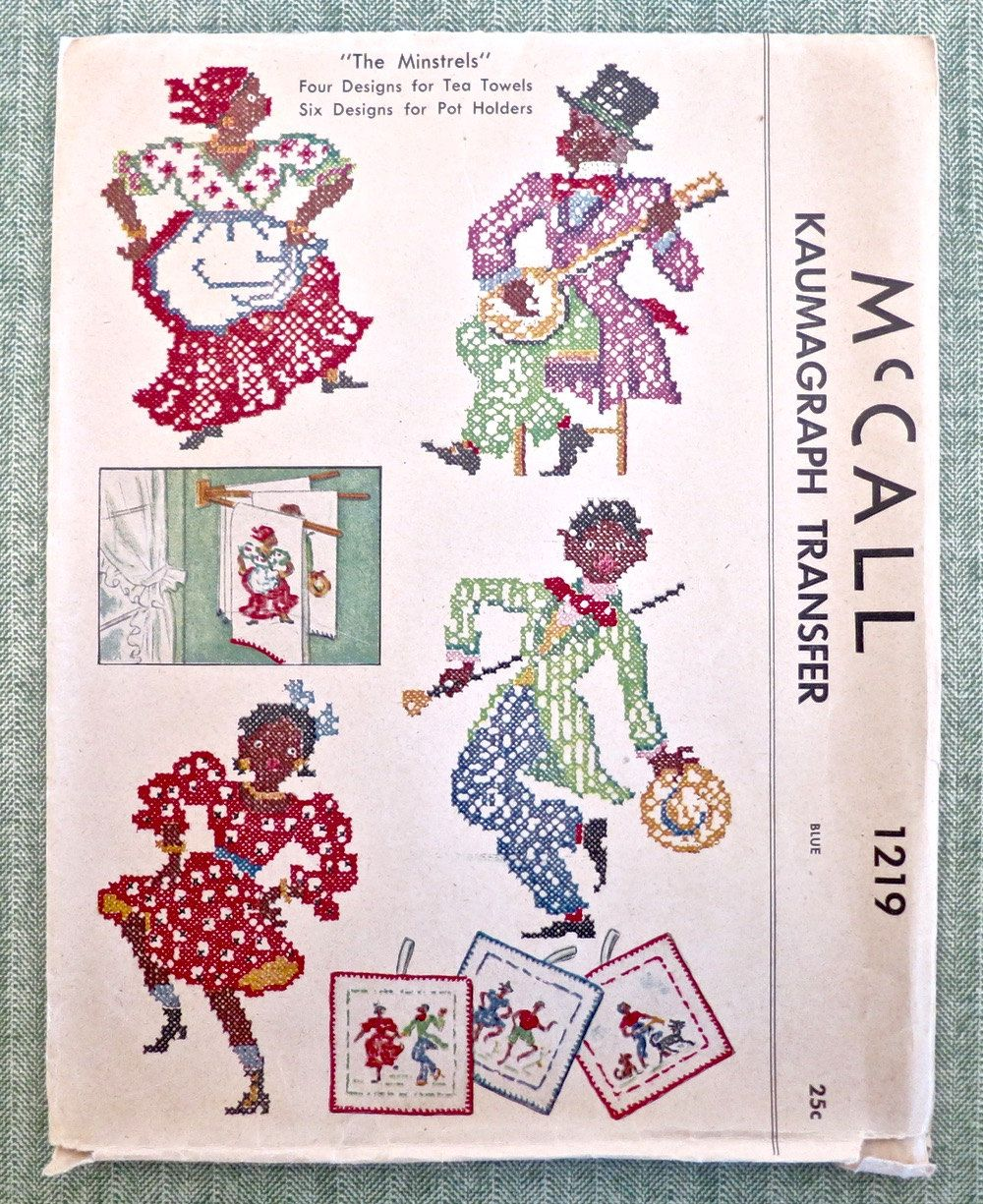 Vintage 1940s Kaumagraph Transfers for Potholders and Towels - McCall 1219 - ONLY TOWEL TRANSFERS by Fragolina on Etsy