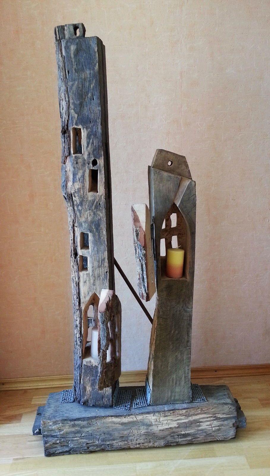 Details Zu Deko Holzbalken Eiche Alt Windlicht Eichenholz Handarbeit  Rustikal Balken Antik