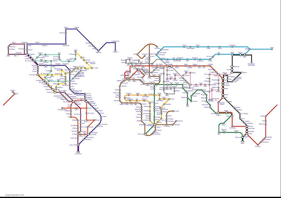 World tube subway metro map canvas print canvas art by stephen the world as a metro map slap a frame on it and you have a gumiabroncs Images