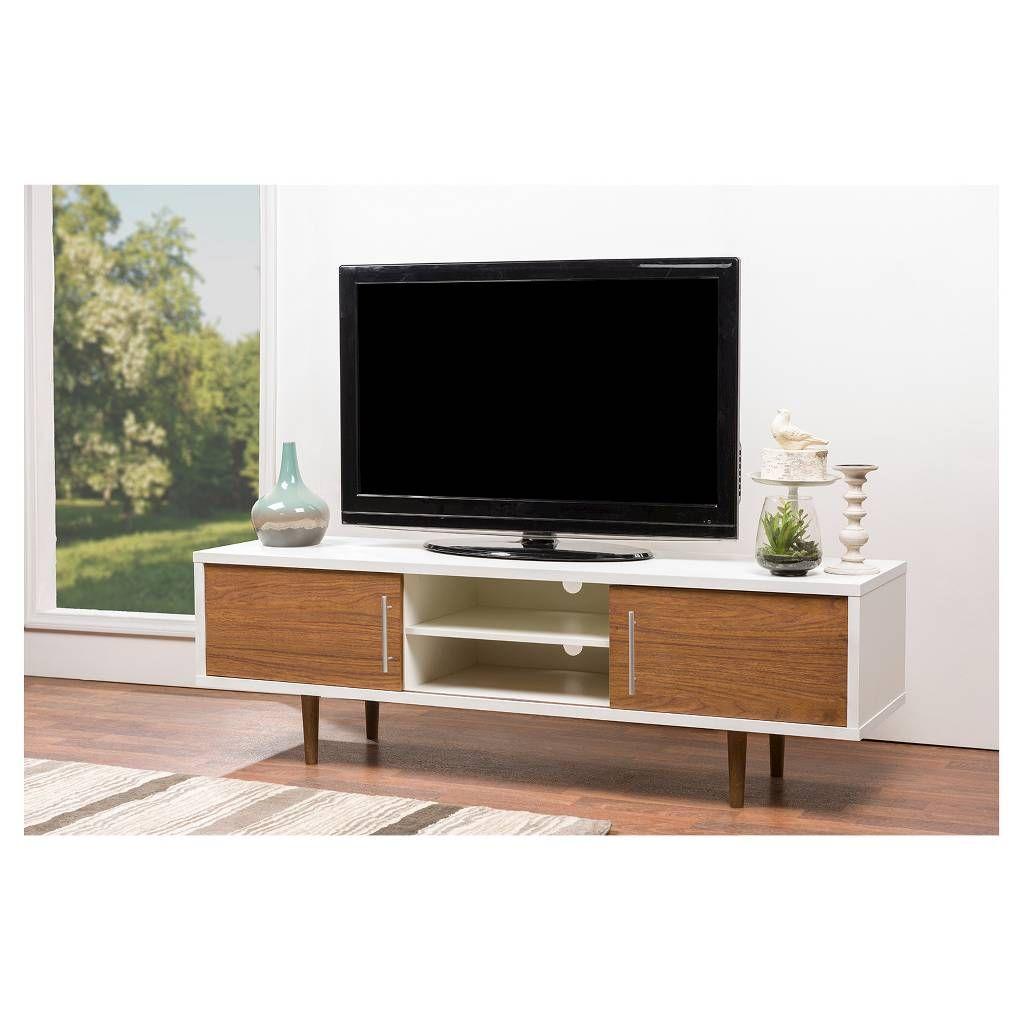Gemini Wood Contemporary TV Stand Walnut White 66