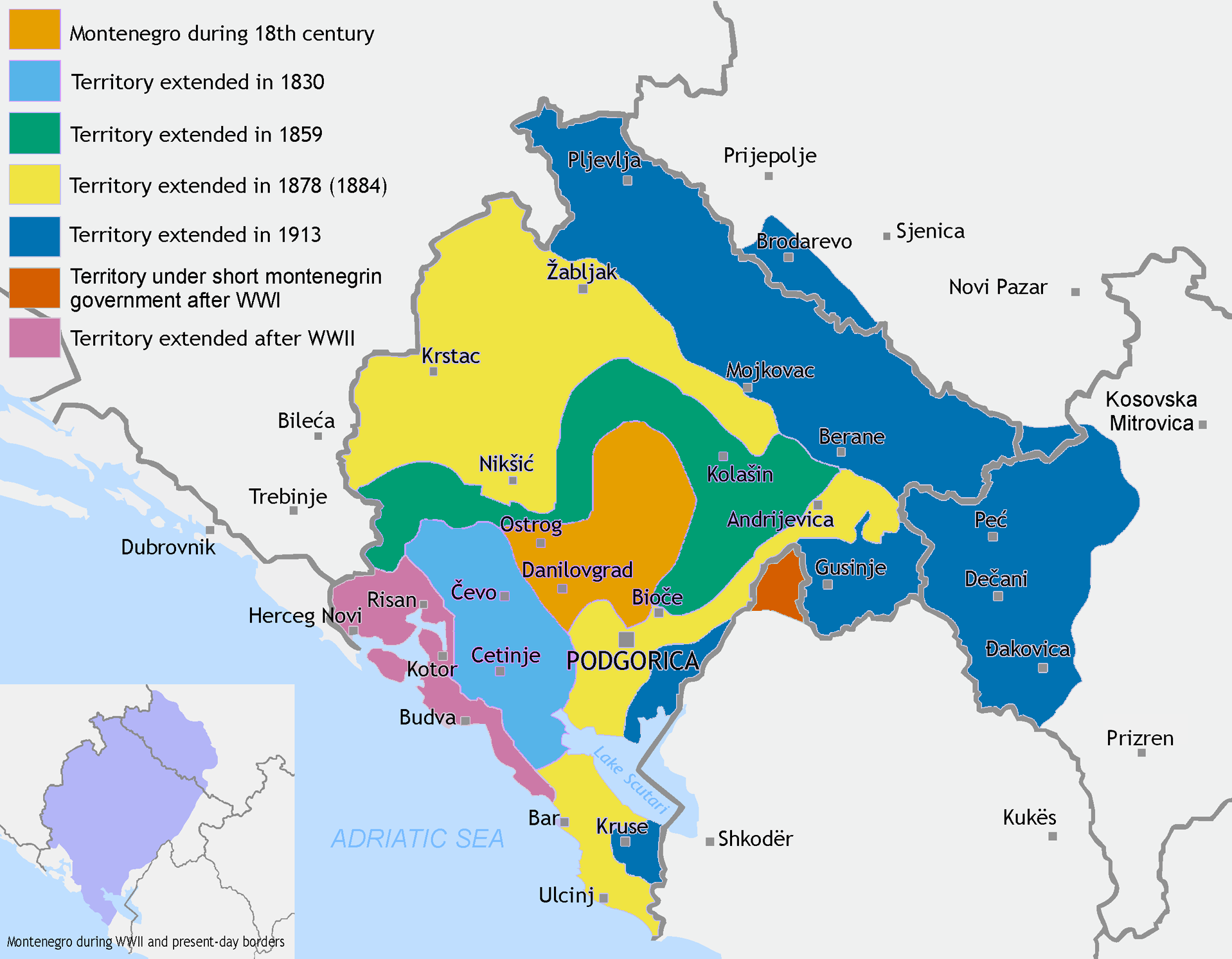 Montenegros territorial expansion from 18301944 compared to its