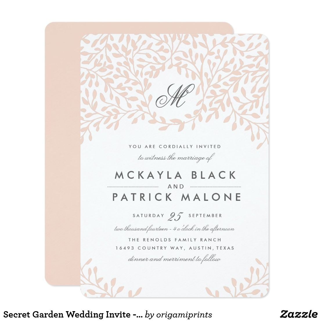 Secret Garden Wedding Invite  Blush is part of Secret garden Invitations - Elegant pink floral wedding design by Shelby Allison  Click the link below to view the entire Secret Garden Collection that includes matching invites, rsvp cards, postage stamps and more